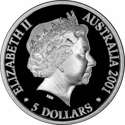 Obverse of 2001 Australian Silver Proof Five Dollars