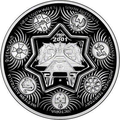 Reverse of 2001 Australian Silver Proof One Dollar