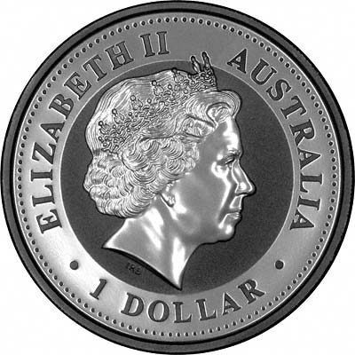 Obverse of 2004 One Ounce Silver Kookaburra