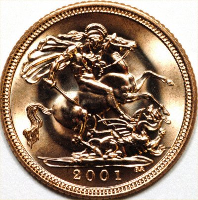 Reverse of 2001 Gold Half Sovereign