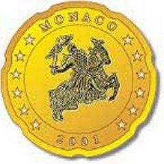 Obverse of Monaco 20 Euro Cent Coin