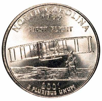 Reverse of 2001 USA North Carolina State Quarter