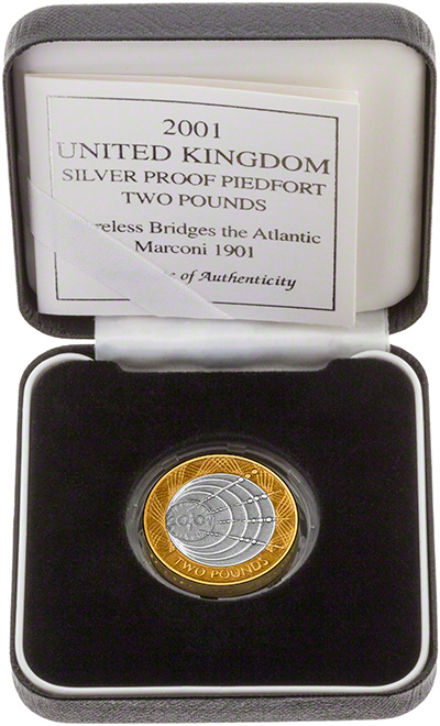 2001 Marconi Piedfort Silver Proof Two Pounds in Presentation Box