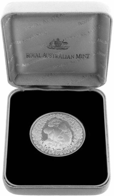 2002 Australian Queen Mother Silver Proof Five Dollars