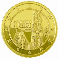 Obverse of Austrian 10 Euro Cent Coin