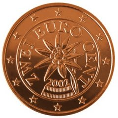Obverse of Austrian 2 Euro Cent Coin