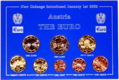 2002 Austrian Euro Coin Set - Official Pack