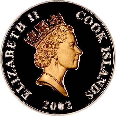 Obverse of 2002 Cook Islands Golden Jubilee Silver Proof Dollar