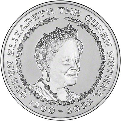 Reverse of 2002 Queen Mother Memorial Silver Proof Crown