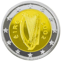 Obverse of Irish 2 Euro Coin