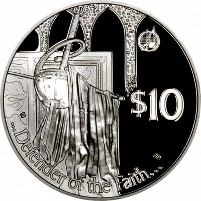 Defender of the Faith on Reverse of 2002 Silver Proof $10