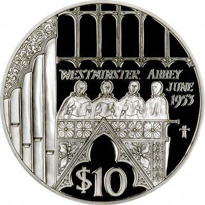 Westminster Abbey on Reverse of 2002 Silver Proof $10