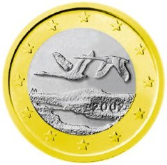 Obverse of Finnish 1 Euro Coin