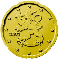 Obverse of Finnish 20 Euro Cent Coin