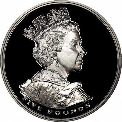 Obverse of 2002 Goldern Jubilee £5 Crown