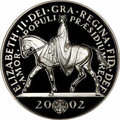 Reverse of 2002 Goldern Jubilee £5 Crown
