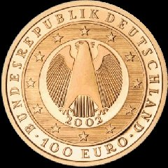 Obverse of the German 2002 Gold 100 Euro Coin