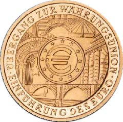 Reverse of German 2002 Gold 100 Euro Coin