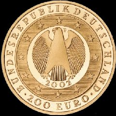 Obverse of the German 2002 Gold 200 Euro Coin