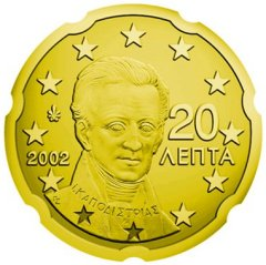 Obverse of Greek 20 Euro Cent Coin