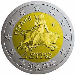 Obverse of Greek 2 Euro Coin