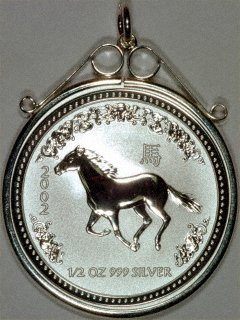 Half Ounce Silver Year of the Horse Pendant