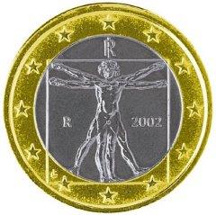 Obverse of Italian 1 Euro Coin