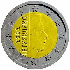 Obverse of Luxembourg 2 Euro Coin