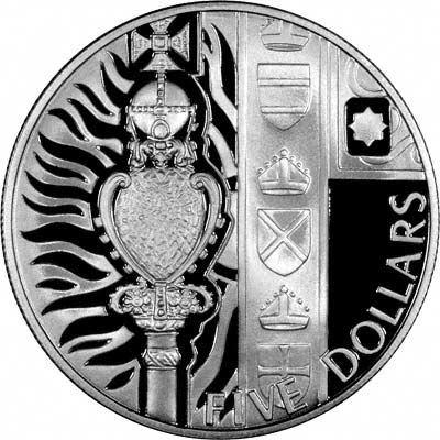 Reverse of 2002 New Zealand $5  - Golden Jubilee Royal Sceptres