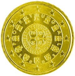 Obverse of Portuguese 50 Euro Cent Coin