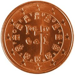Obverse of Portuguese 5 Euro Cent Coin