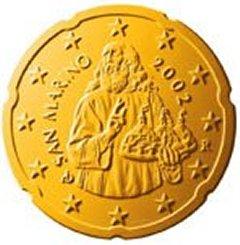 Obverse of San Marino 20 Euro Cent Coin