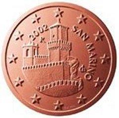 Obverse of San Marino 5 Euro Cent Coin