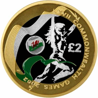 Reverse of 2002 Commonwealth Games Piedfort Silver Proof Two Pound
