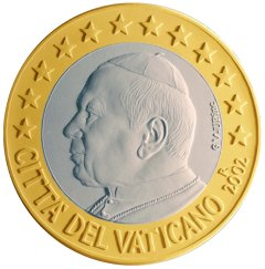 Obverse of Vatican 1 Euro Coin