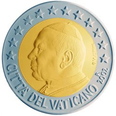 Obverse of Vatican 2 Euro Coin