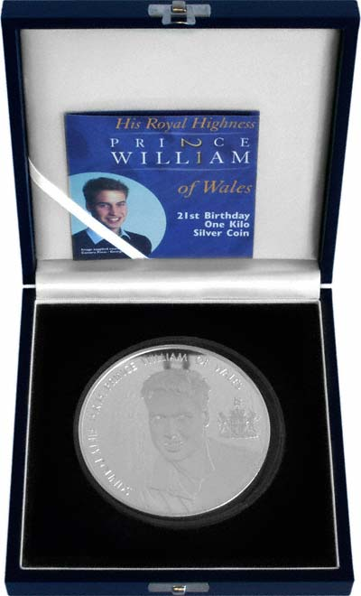 2003 Alderney Prince William's 21st Birthday Fifty Pound Silver Proof Kilo Coin in Box
