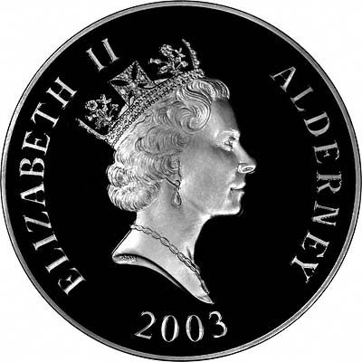Obverse of 2003 Alderney Prince William's 21st Birthday Fifty Pound Silver Proof Kilo Coin