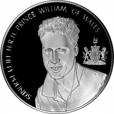 Reverse of 2003 Alderney Prince William's 21st Birthday Fifty Pound Silver Proof Kilo Coin