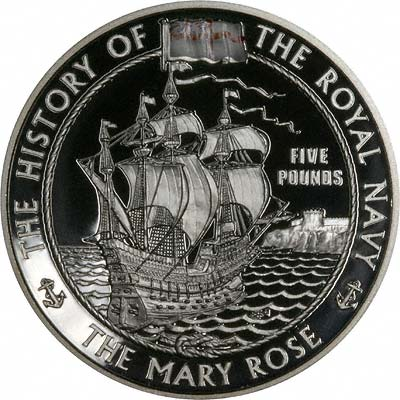 The Mary Rose on Reverse of 2003 Alderney Silver Proof £5 Crown