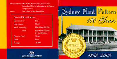 2003 150th Anniversary of the Sydney Mint Patterns Coin Certificate