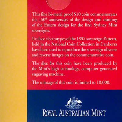 2003 150th Anniversary of the Sydney Mint Pattern Coin Box Cover Reverse