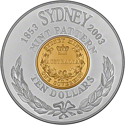 Reverse of 2003 100th Anniversary of the Sydney Mint Pattern Coin