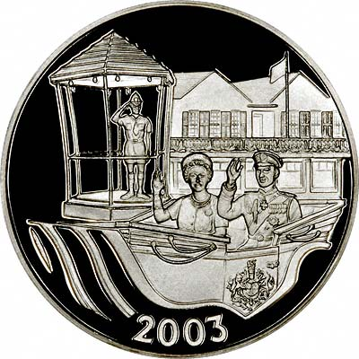 Royal Visit on Reverse of 2003 Bermuda $5 Silver Proof
