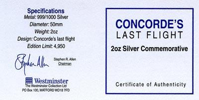 2003 Concorde's Last Flight Silver Medallion Certificate
