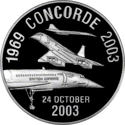 Obverse of 2003 Concorde's Last Flight Silver Medallion