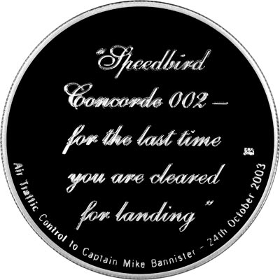 Reverse of 2003 Concorde's Last Flight Silver Medallion