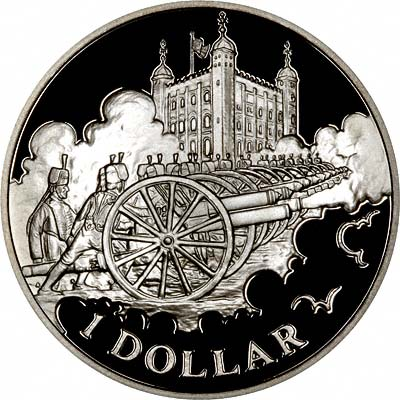 Royal Gun Salutes on Reverse of 2003 Cook Islands Golden Jubilee Silver Proof Dollar