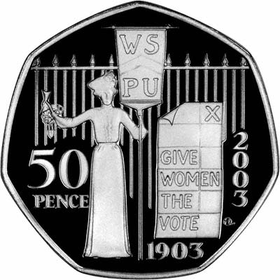 Reverse of Silver Proof 2003 WSPU Fifty Pence