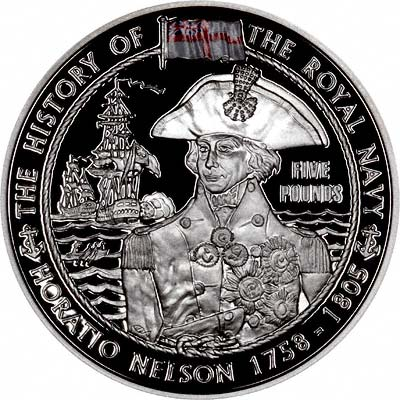 Admiral Horatio Nelson on Reverse of 2003 Guernsey Silver Proof £5 Crown